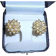Vintage 14K Yellow Gold Round Clip Cluster Cultured Pearl Cocktail Earrings