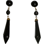 """Antique Whitby Jet Faceted Screwback Gold-Filled Dangle Earrings Elegant 2""""1/8 inches Long"""
