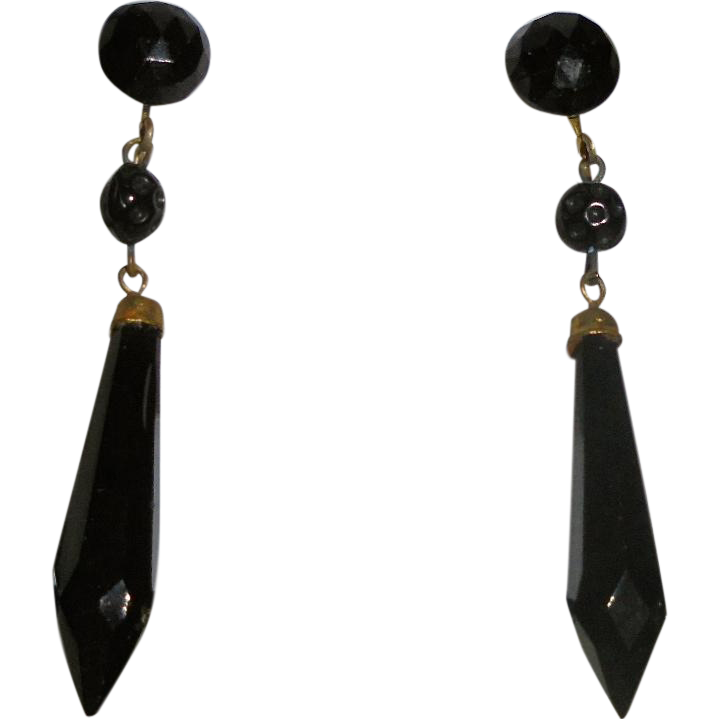 "Antique Whitby Jet Faceted Screwback Gold-Filled Dangle Earrings Elegant 2""1/8 inches Long"