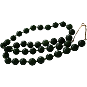 14K Gold Upper Chain & Spinach Jade Beaded Necklace 7 mm Hand-Knotted Beads