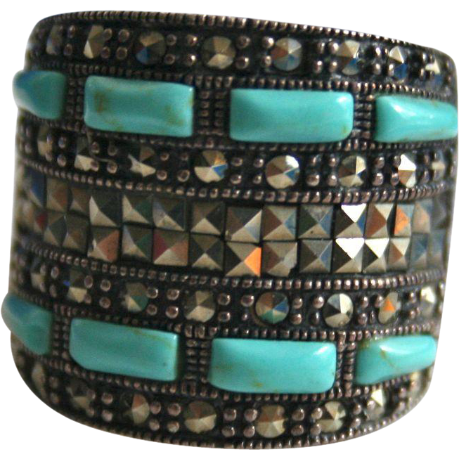 Sterling Silver Etruscan Revival Turquoise & Marcasite Chunky Ring Size 8.5