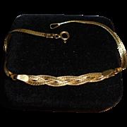 14K Gold Braided & Herringbone 2 Textured Bracelet Solid Yellow Gold