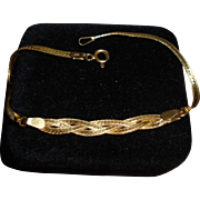 14K Gold Braided & Herringbone 2 Textured Bracelet Solid Yellow Gold