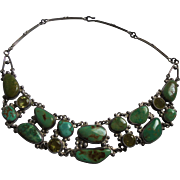 Superb Sterling & Turquoise & Crystal Draping Bib Necklace