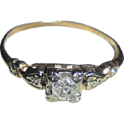 14K Art Deco Diamond TCW .075 Two Tone Gold Ring Size 4.5 Yellow & White Gold Heart Motiff Solitaire