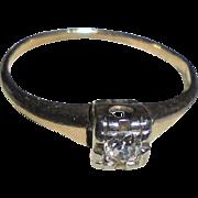Art Deco Era 14K Gold Diamond Solitaire Ring TCW .075 Two-Tone Yellow & White Gold Size 6
