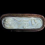 Rare Rectangular Antique 10K Gold Edwardian Goddess Cameo Brooch