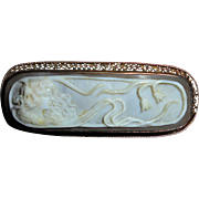 Rare Rectangular Antique 10K Gold Edwardian Goddess Cameo Brooch