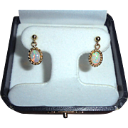 14K Fiery Opal Dangle Drop Pierced Earrings Ornate Intricate Frame