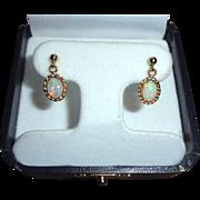 14K Fiery Opal Dangle Drop Pierced Earrings Ornate Intricate Frame