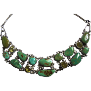 Exquisite Sterling & Turquoise & Crystal Draping Bib Necklace