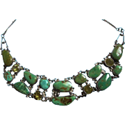 Sterling & Turquoise & Gemstone Draping Bib Necklace