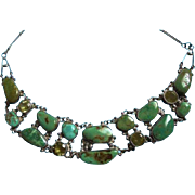 Genuine Sterling & Turquoise & Gemstone Draping Bib Necklace