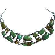 Genuine Sterling Silver & Turquoise & Citrine Draping Bib Necklace
