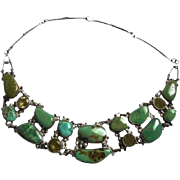 Statement Piece! Genuine Sterling Silver & Turquoise & Citrine Draping Bib Necklace