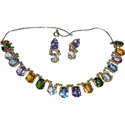 Vintage Gold-Plated Multi Simulated Gemstone Necklace & Earrings Set