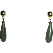 14K Gold Genuine Jade Elongated Dangle Pierced Earrings