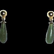 14K Gold Genuine Jade Elongated Dangle Pierced Earrings