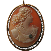 14K Gold & Genuine Diamond Antique Carnelian Shell Goddess Cameo Brooch Pendant Edwardian