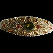Gorgeous Rhinestone Encrusted Bejeweled Clamper Cuff Bracelet Peridot Green Rhinestone Center