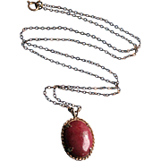 14K Gold Rhodocrosite Pendant Necklace Vintage