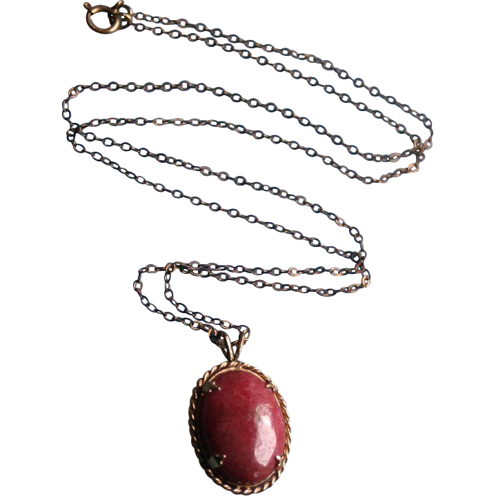 14k Gold Rhodocrosite Pendant Vintage On Gold Filled Chain Necklace Random Harvest Ruby Lane
