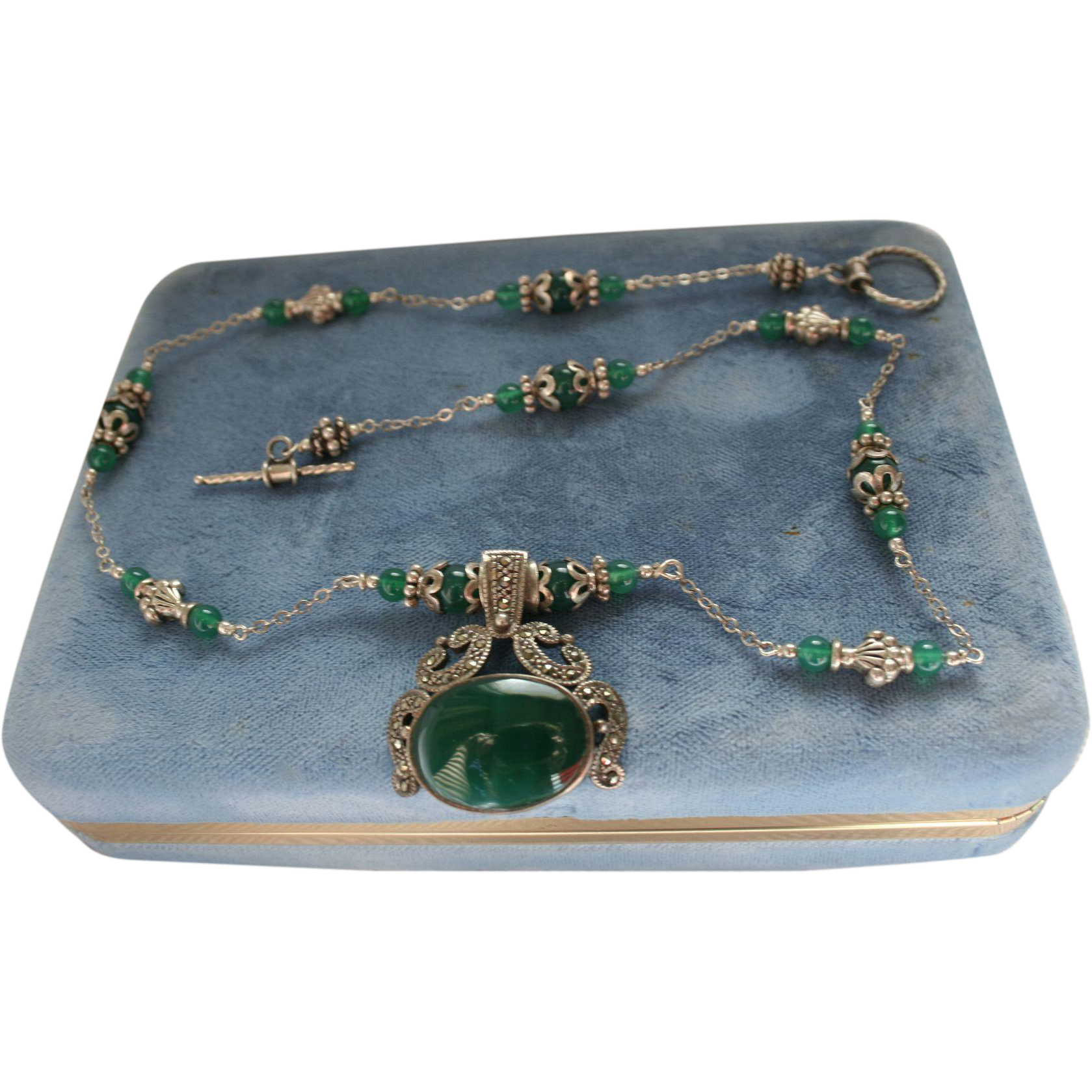 Sterling Silver & Chrysoprase Art Deco Style Emerald Green Vintage Necklace & Earrings Set