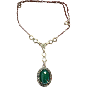 Sterling Chrysoprase Marcasite Lavelier Necklace Art Deco Style Vintage
