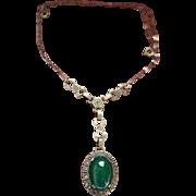 Sterling Chrysoprase Marcasite Lavelier Necklace Art Deco Style Vintage