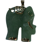 14K Gold Jade Asian Style Elephant Pendant with Asian Script Writing Good Fortune