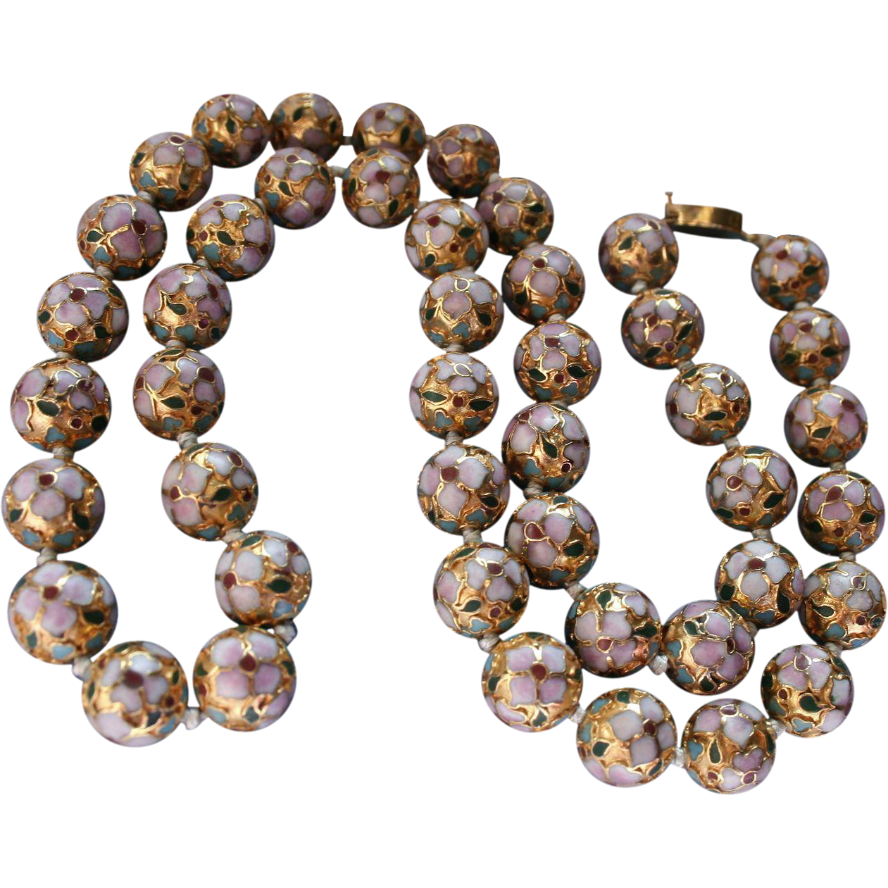 Golden Cloisonne Hand Knotted Beaded Necklace Multi Color From Randomharvest On Ruby Lane