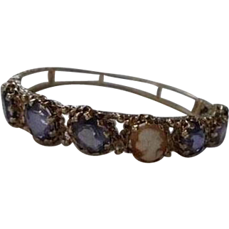 14K Solid Gold Amethyst 12.0 TCW & Shell Cameo Hinged Clamper Bracelet