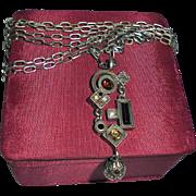 Vintage Patricia Locke Crystal Modernist Pendant Necklace