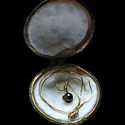 14K Gold Genuine Diamond & Black Pearl Pendant Necklace in Original Clamshell Box