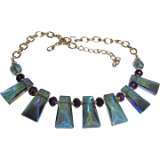 Cleopatra Watermelon Blue AB Faceted Irridescent Glass Draping Bib Necklace
