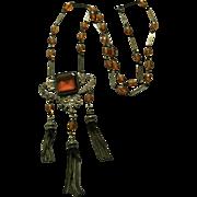 Vintage Art Nouveau Czechoslovakian Lavaliere Glass Amber Colored Czech Necklace
