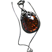 Sterling Silver & Baltic Amber Modernist Pendant Necklace with Inclusions