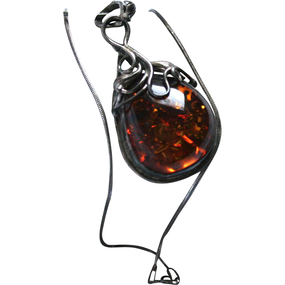 Sterling Silver Baltic Amber Modernist Pendant Necklace With Random Harvest Ruby Lane