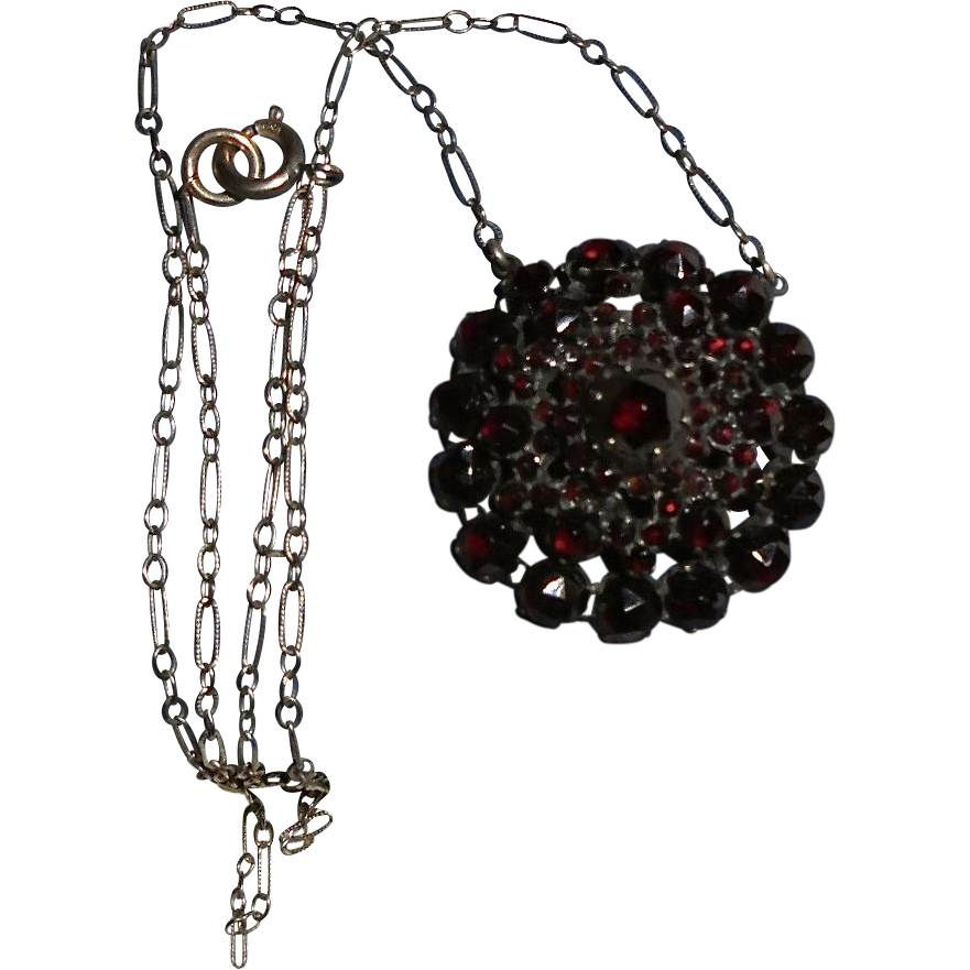 Antique Stacked Garnet Gold-Filled Pendant Necklace Victorian Era Inscribed L.C.T.