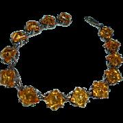 Vintage Baltic Amber Solid Sterling Silver Bracelet