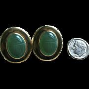 Chunky 14K Gold Scarab Chrysoprase Egyptian Revival Pierced Earrings