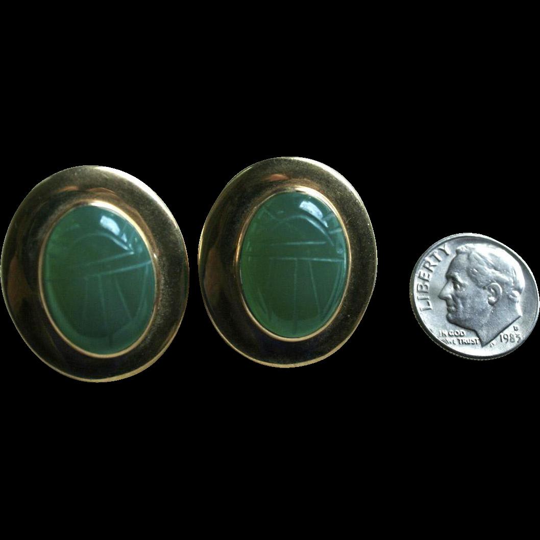 Large 14k Gold Scarab Chrysoprase Egyptian Revival Pierced Earrings Random Harvest Ruby Lane