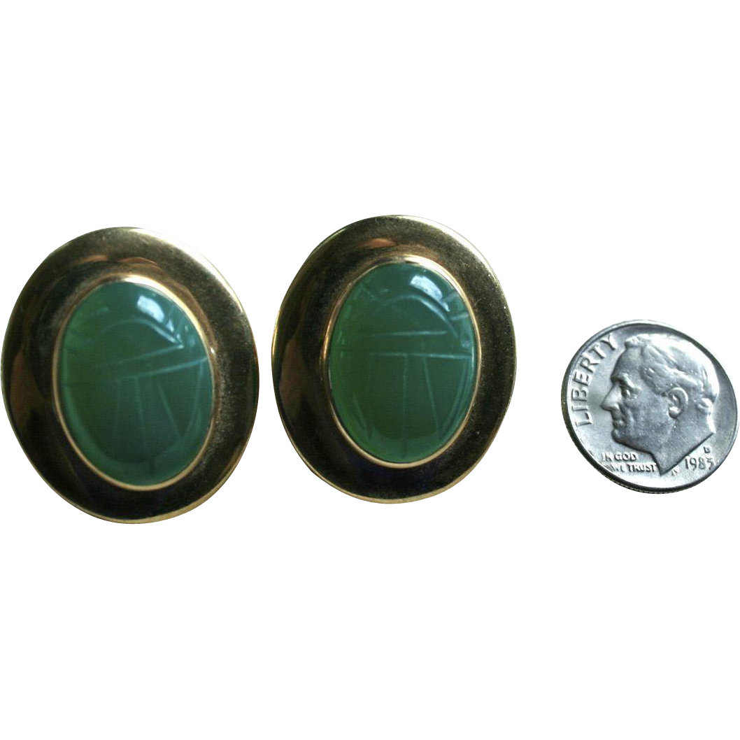 Large 14K Gold Scarab Chrysoprase Egyptian Revival Pierced Earrings Insect Jewelry