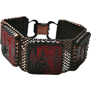 Max Neiger Egyptian Revival Enamel Red & Black Mesh Bracelet