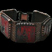 Max Neiger Egyptian Revival Enamel Czech Glass Red & Black Mesh Bracelet