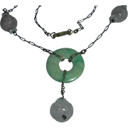 Art Deco Lavender Jade Gold-Filled Green Jade Pendant Necklace