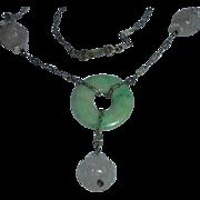 Art Deco Lavender Jade Gold-Filled Green Jade Pendant Necklace