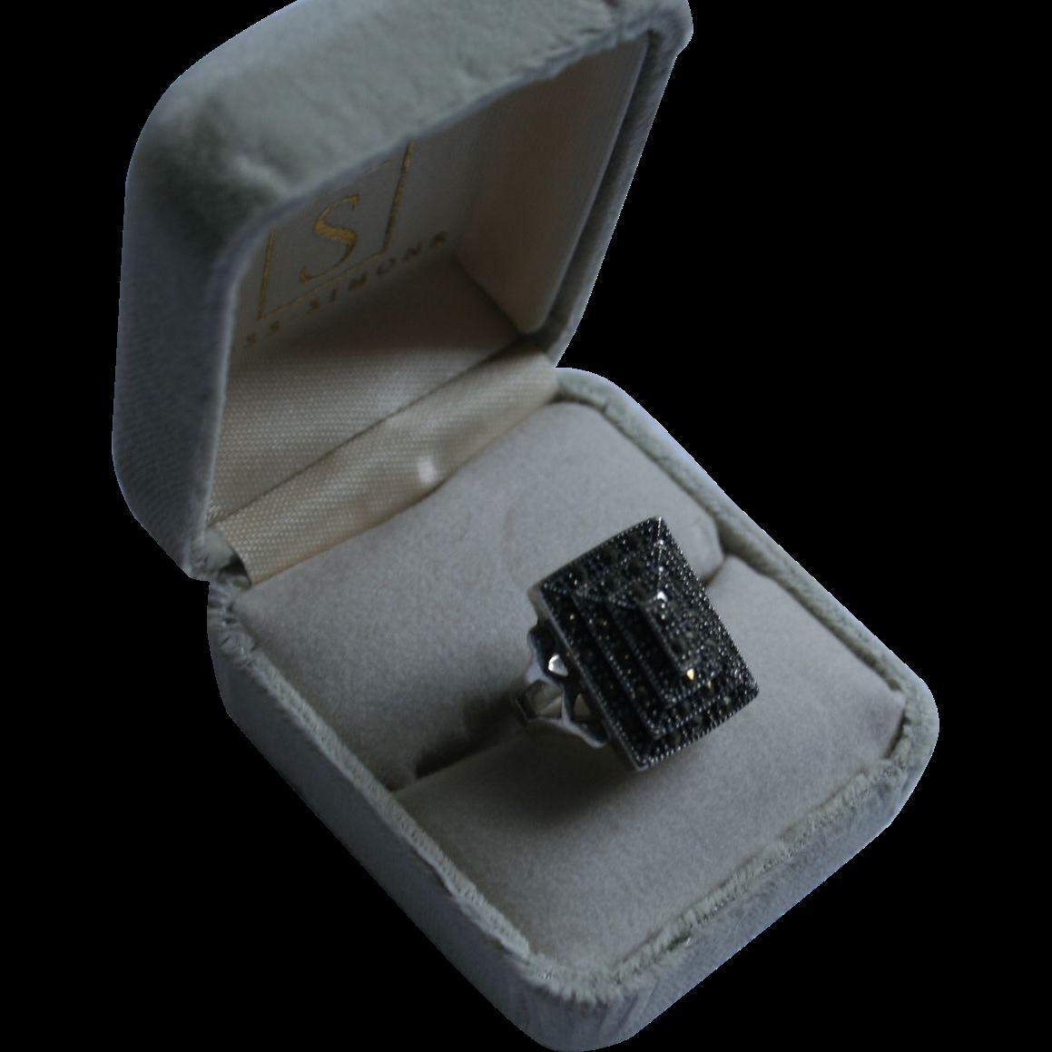 Sterling Silver Stacked Marcasite Rectangular Ring 925 Size 6 Random Harvest Ruby Lane