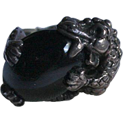 Sterling Silver Onyx Dragon Figural Ring 925 Size 5.5