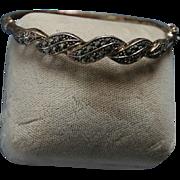 Intricate Sterling Silver Marcasite Clamper Cuff Bracelet